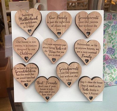 Sentiment Wooden Heart Magnet