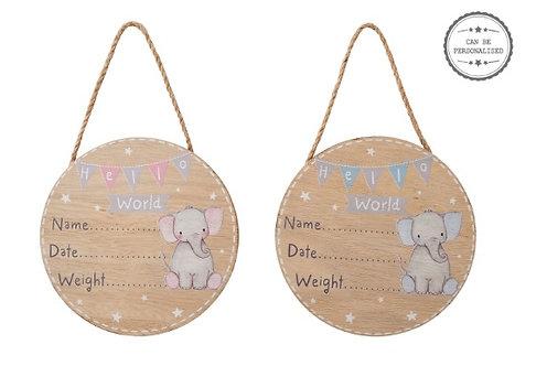 Hello World Elephant Baby Plaque