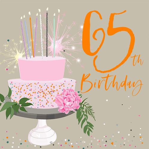 65th Birthday Card - Cake Design