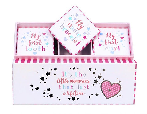 First Tooth, Curl and Name Bracelet Memory Boxes PINK