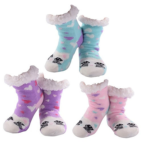 Girls Cutie Cat Nuzzles Slipper Socks