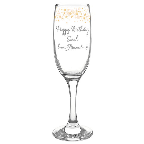 Personalised Gold Stars Flute Glass