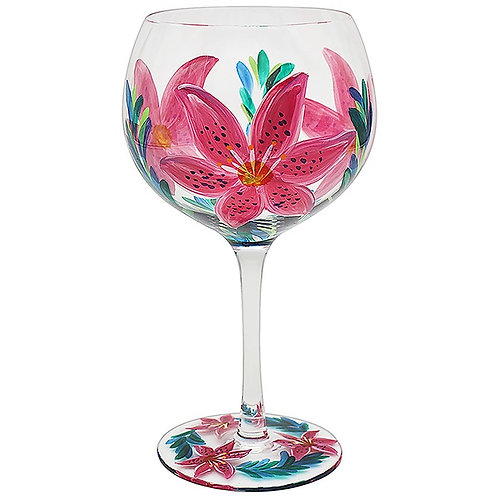Handpainted Lily Flower Gin Glass