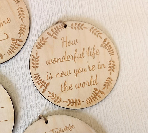 How Wonderful Life Is Wooden Hanging Sign