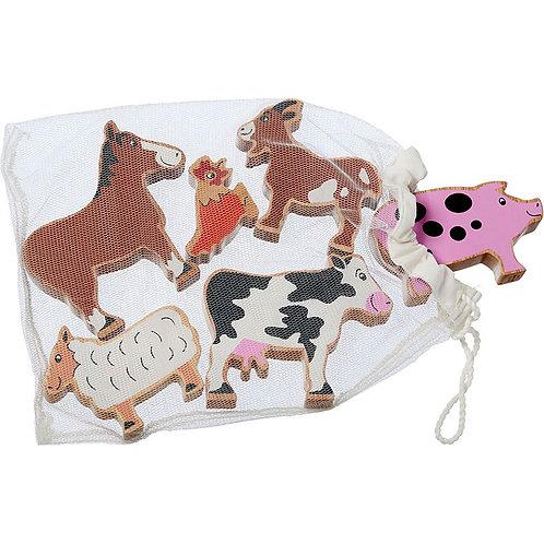 Lanka Kade Farm Animals - Bag of 6 Wooden Toys