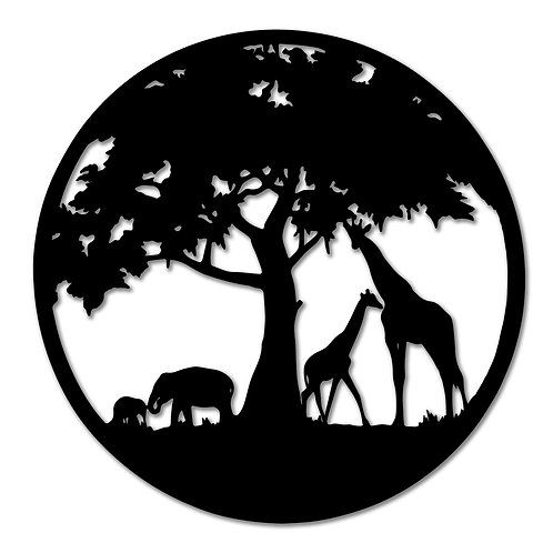 Round Tree Metal Wall Art with Animals
