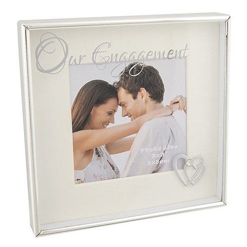 Silver Mirrored Engagement Photo Frame