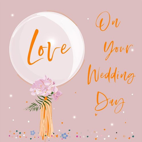Wedding Day Card - Love Balloon Design
