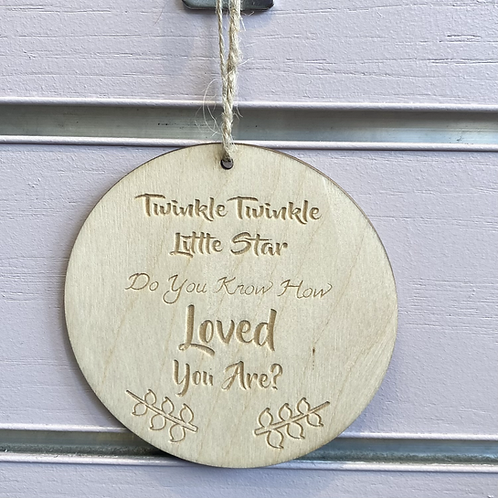 Twinkle Twinkle Circular Wooden Hanging Sign