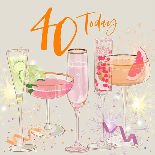 40th Birthday Card - Cocktails Design