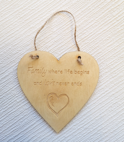 Family Where Life Begins Wooden Hanging Heart