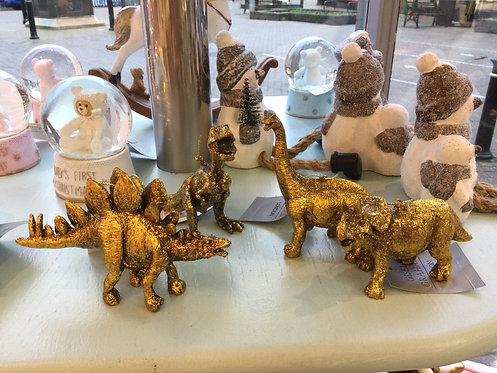 Old Gold Resin Dinosaur Decoration