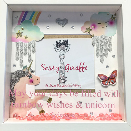 3D Box Unicorn Photo Frame Rainbow Wishes & Unicorn Kisses