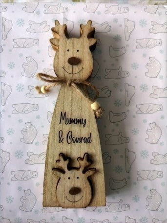 Personalised Reindeer Adult and Baby Decoration
