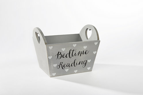 Grey Heart Bedtime Reading Storage Crate