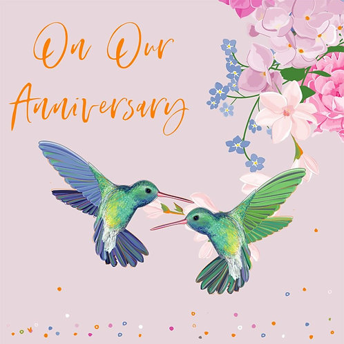 On Our Anniversary Card - Hummingbird Design