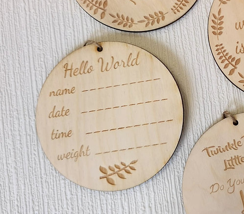 Hello World Wooden Hanging Sign