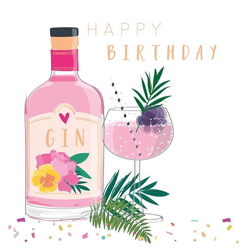 Happy Birthday Card - Gin Bottle Design