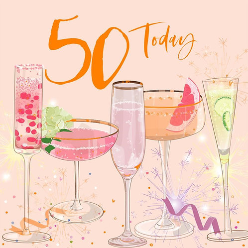 50th Birthday Card - Cocktails Design