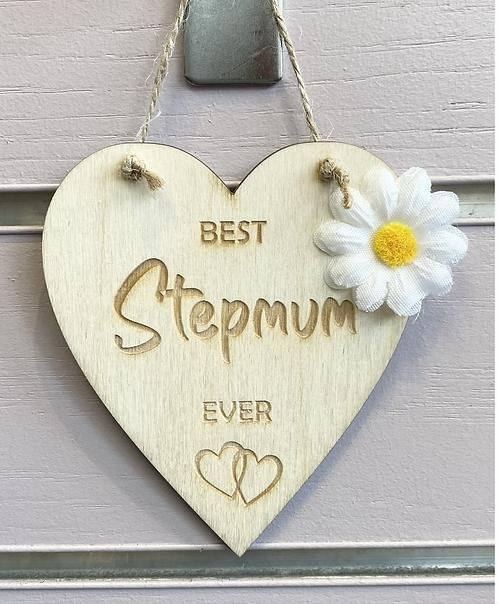 Best Stepmum Ever Wooden Hanging Heart