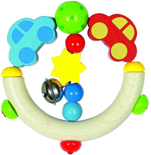 Heimess Wooden Cars Touch Ring Rattle