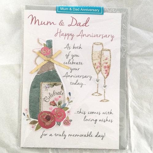 Mum and Dad Happy Anniversary Card - Bottle Design