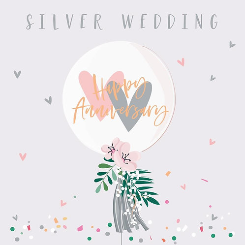 25th Silver Anniversary Card - Balloon Design