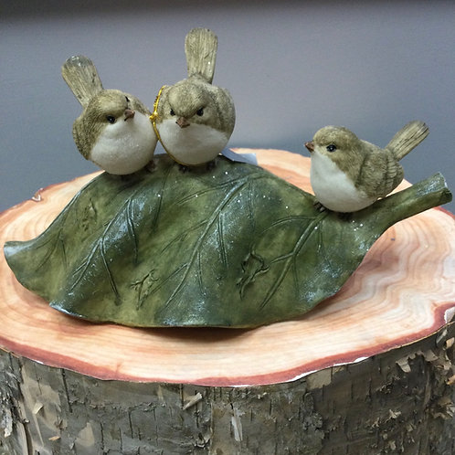 Birds on Leaf Resin Ornament
