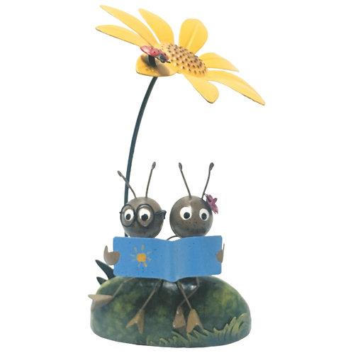 Ant Couple Reading Metal Garden Ornament