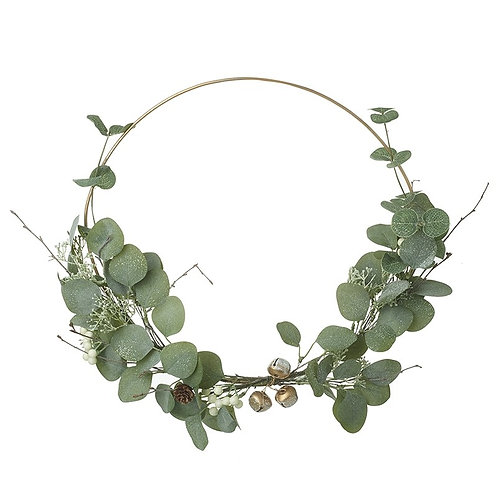 Wreath with Green Leaves and Gold Bells