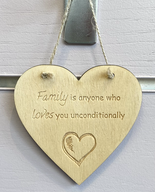 Family Is Anyone Wooden Hanging Heart