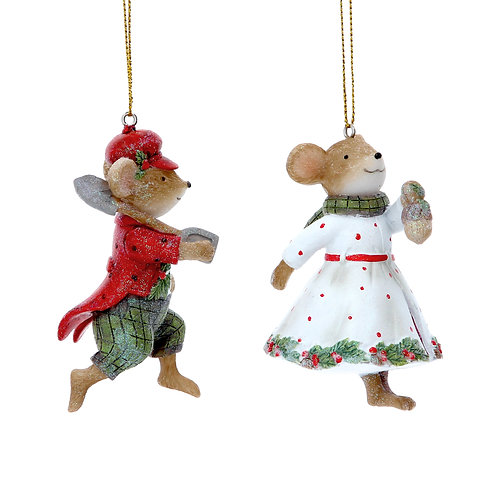 Mrs & Mr Mouse Hanging Ornament