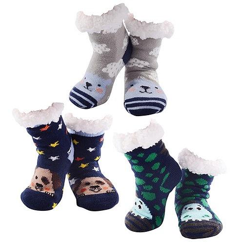 Boys Animal Nuzzles Slipper Socks