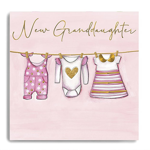 New Granddaughter Pink Clothes Card