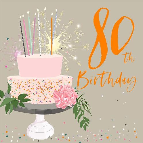 80th Birthday Card - Cake Design