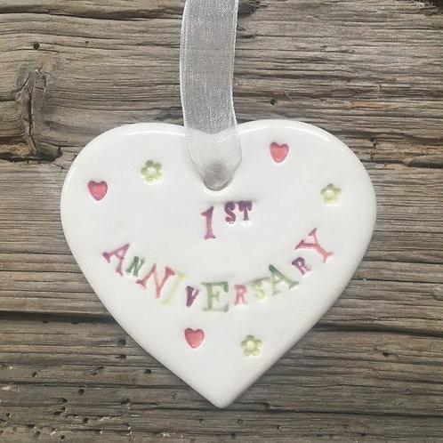 1st Anniversary Ceramic Hanging Heart
