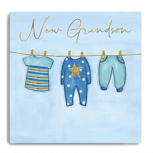 New Grandson Blue Clothes Card