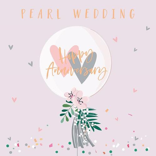 30th Pearl Anniversary Card - Balloon Design