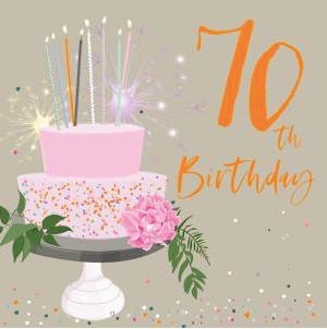 70th Birthday Card - Cake Design