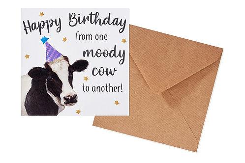 Happy Birthday Moody Cow Card