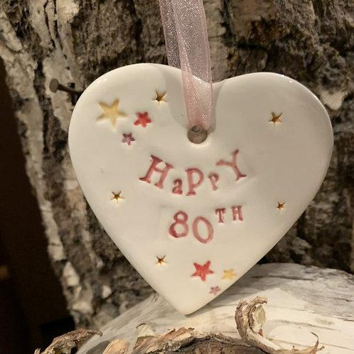 Happy 80th Ceramic Hanging Heart