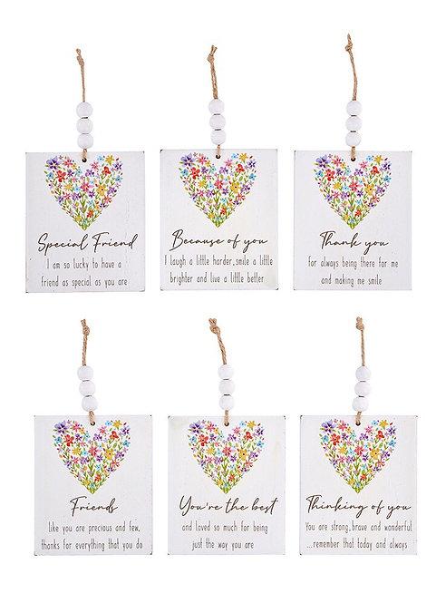 Flower Rainbow Heart Sentiment Hanger