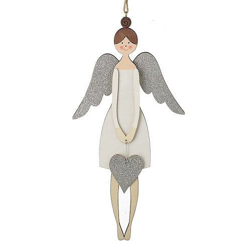 White Wood Hanging Angel with Silver Heart