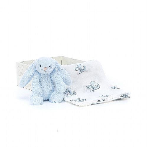 Jellycat Bashful Blue Bunny Gift Set