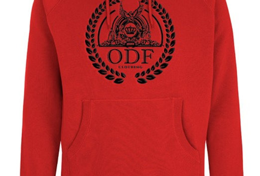 (RED/BLACK) UNISEX LOGO EMBROIDERED COTTON HOODIE