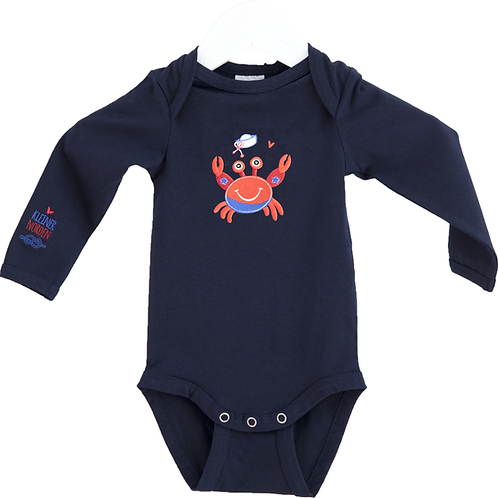 Baby Body, maritim Krabbe Stickerei