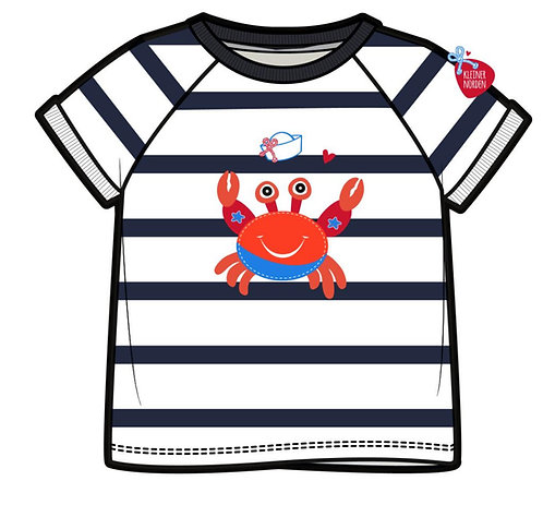 Kinder T-Shirt, maritim Krabbe, Krebs gestickt vom Kleinen Norden
