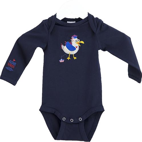 Baby Body, maritim Möwe Stickerei