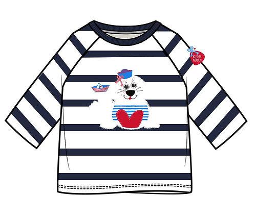 Kinder Shirt, langarm, maritim Robbe, Seehund, Heuler gestickt vom Kleinen Norden
