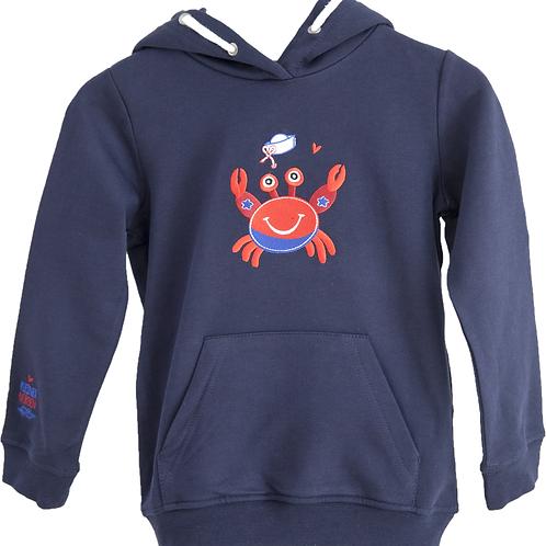 Kinder Hoodie, maritim Krabbe gestickt